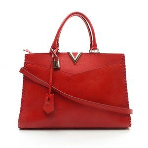 Auth Louis Vuitton Red Leather Hand Bag #4253L82